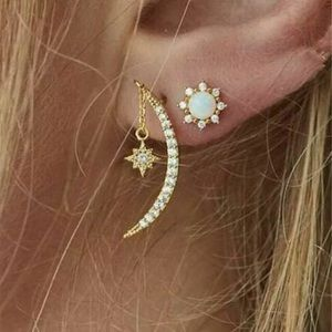 Sun Moon and Star Earrings Two Piece Set